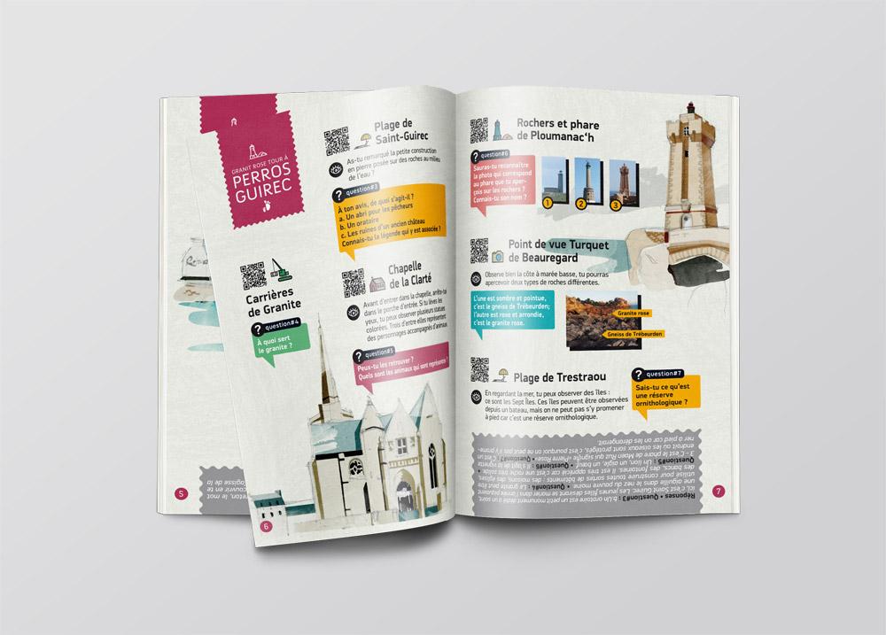 Illustration-patrimoine-sur-mesure-Coqueliko-Lannion-Livret-enfant-Granit-Rose-Tour