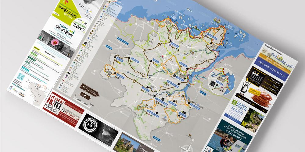 Carte-touristique-Tregor-Coqueliko Création originale d'une carte touristique et de randonnées pour l'OT Trégor Côte d'Ajoncs-Coqueliko Roudenn Boutik Lannion-Commerce local et circuit court