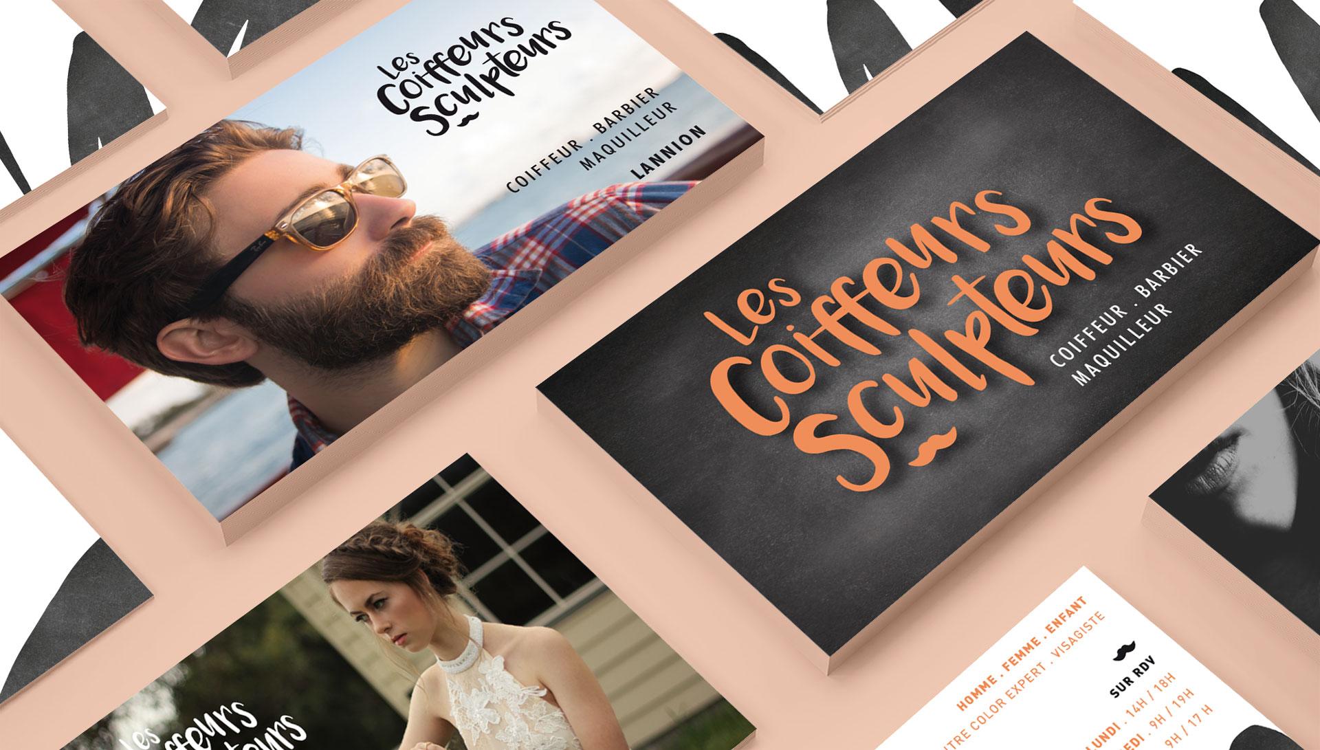 Logo, carte de visite des coiffeurs Sculpteurs by Coqueliko
