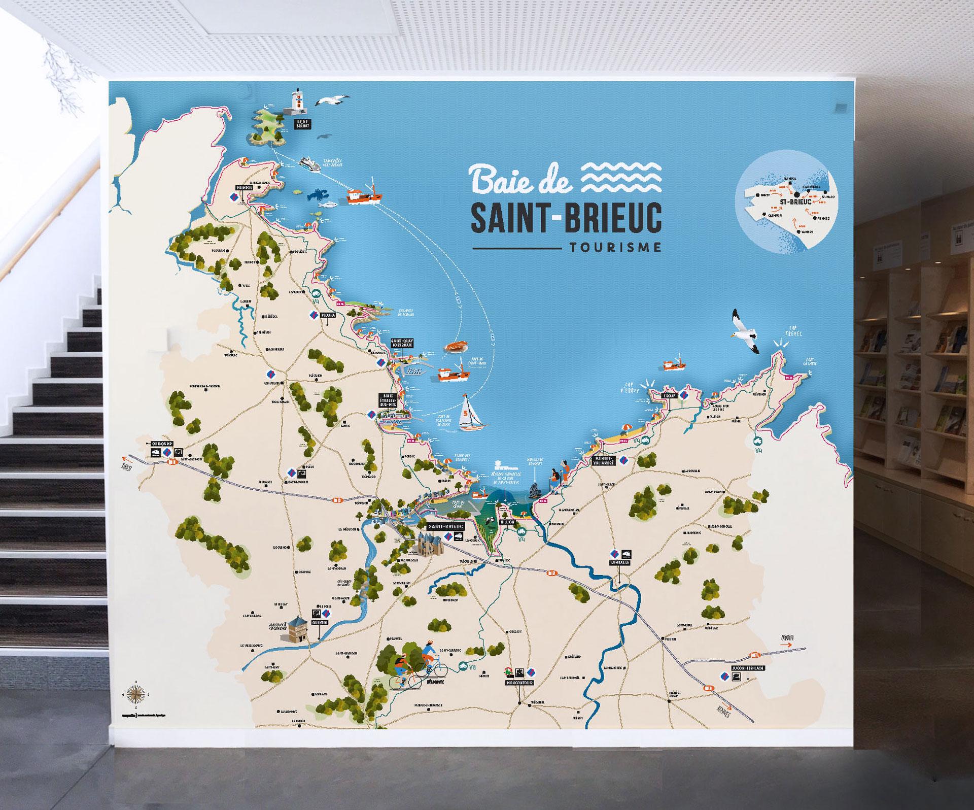 Création d'une carte touristique pour l'OT Baie de Saint-Brieuc- Coqueliko Roudenn Boutik Lannion - Illustration pose et impression - Commerce local et circuit court