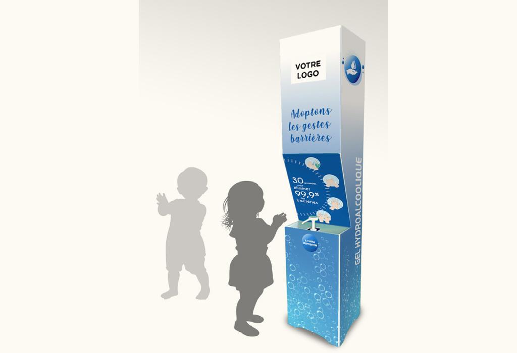 Borne-en-panneau alvéolaire-150 cm-distribution-gel-hydroalcoolique-Roudenn-Lannion-100% recyclable-Fabriqué en Bretagne-Fabriqué en France-Pour bidon 5 l-personnalisable