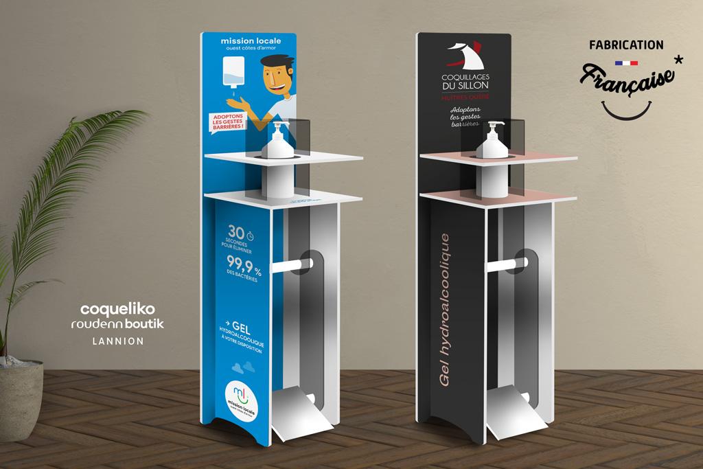 Borne pedale en-PVC-distribution-gel-hydroalcoolique-120 cm-Roudenn-Lannion-100% recyclable-Fabriqué en Bretagne-Fabriqué en France