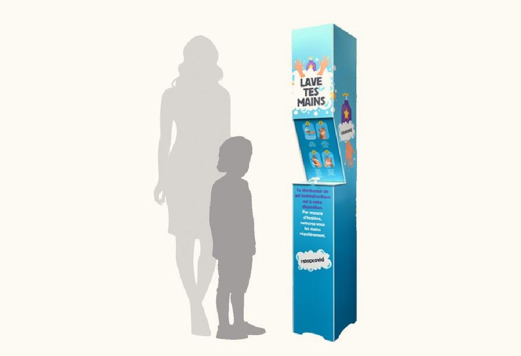 Borne-en-panneau alvéolaire-180 cm-distribution-gel-hydroalcoolique-Roudenn-Lannion-100% recyclable-Fabriqué en Bretagne-idéal établissements scolaires-Pour bidon 5 l-personnalisable