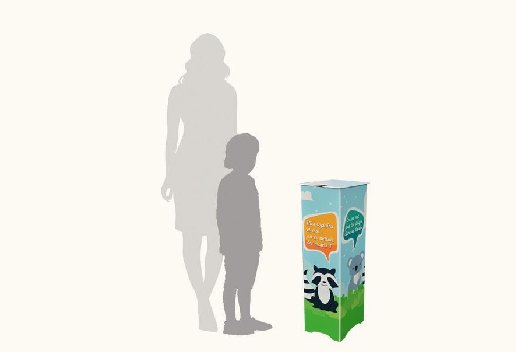 Borne-en-panneau alvéolaire-90 cm-distribution-gel-hydroalcoolique-Roudenn-Lannion-100% recyclable-Fabriqué en Bretagne-idéal ecole-Pour bidon 5 l-personnalisable