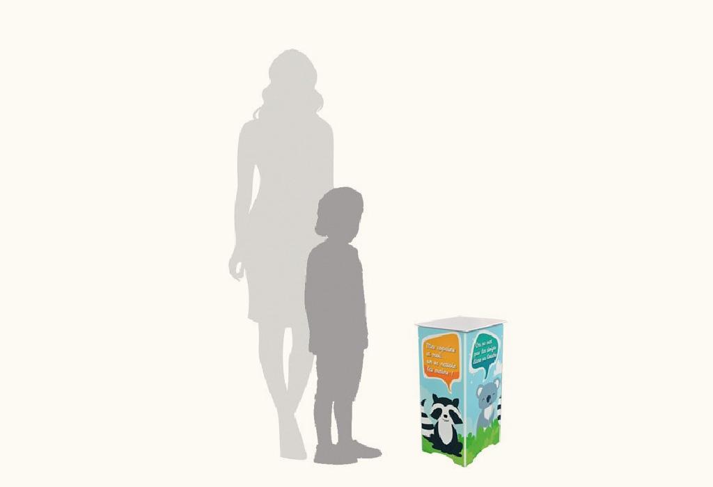 Borne-en-panneau alvéolaire-60 cm-distribution-gel-hydroalcoolique-Roudenn-Lannion-100% recyclable-Fabriqué en Bretagne-idéal ecole-Pour bidon 5 l-personnalisable