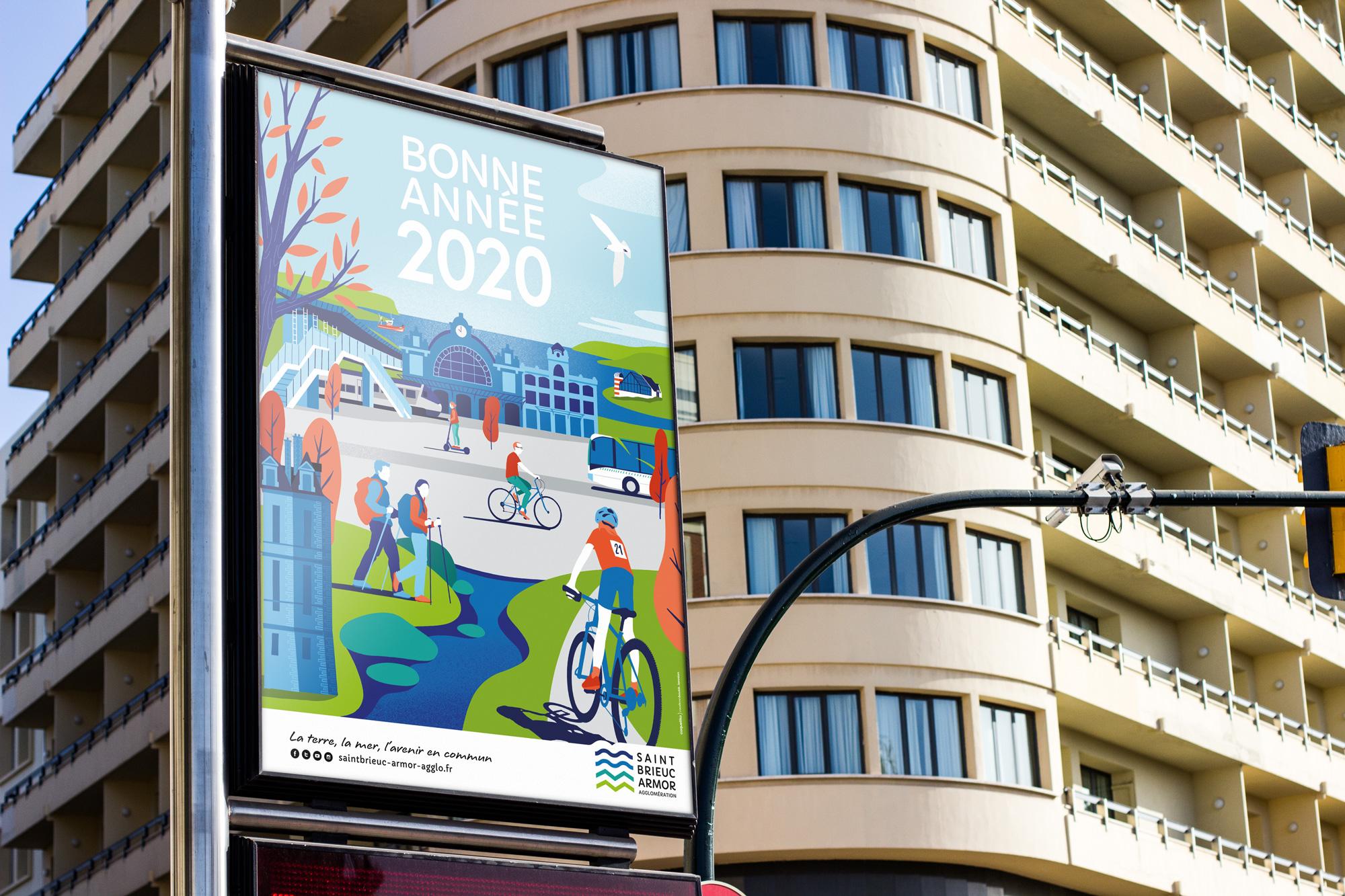 Illustration-affiche-Saint-Brieuc-agglomération-voeux-2020-coqueliko-roudenn-boutik-lannion