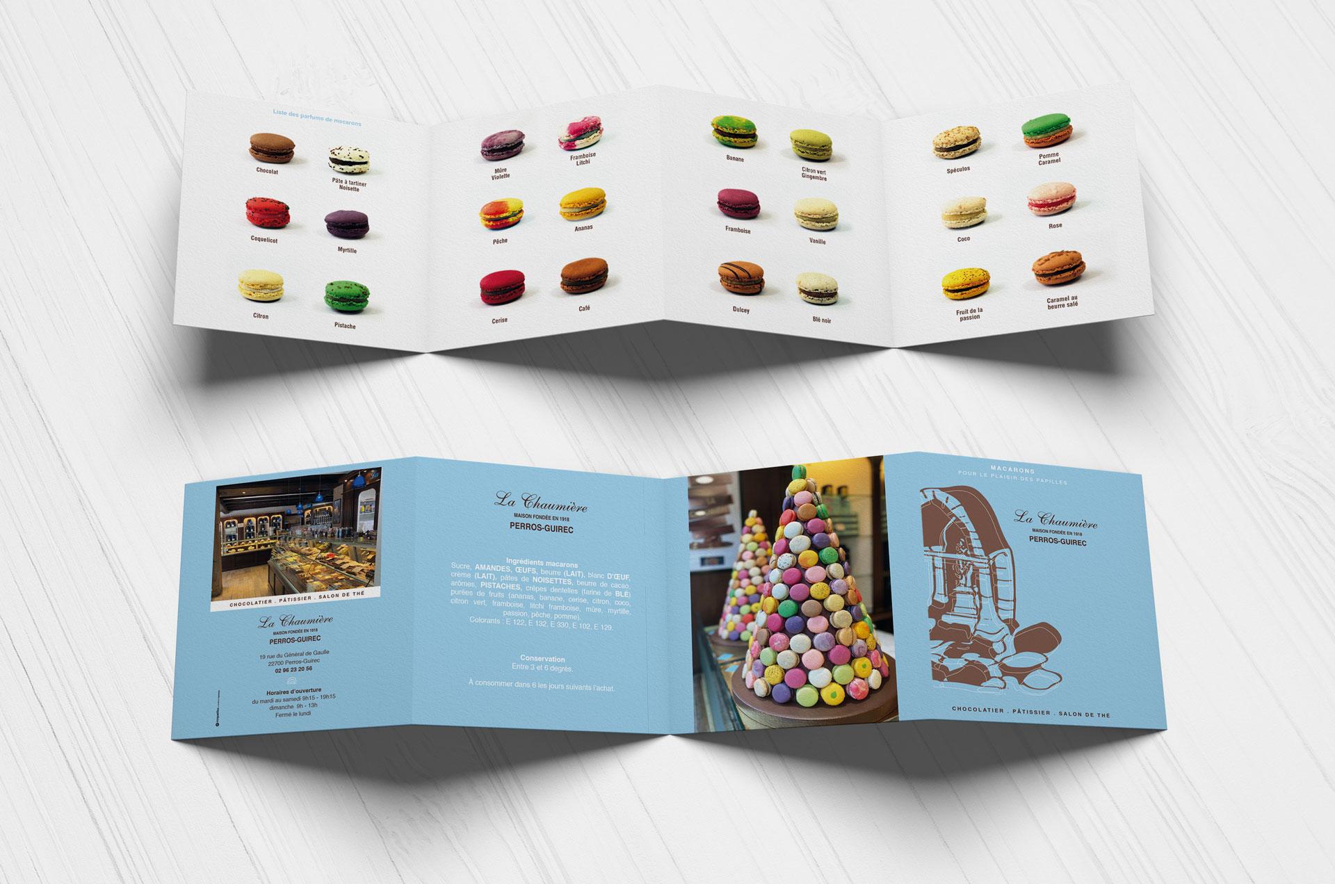 dépliant produits chocolaterie pâtisserie Chaumière Perros-Guirec roudenn Lannion coqueliko