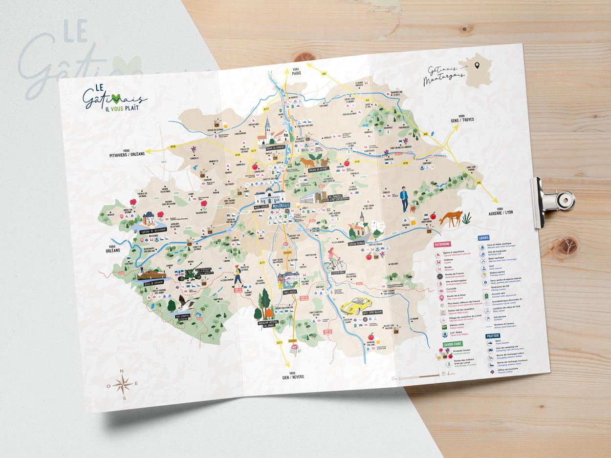 carte-touristique-gatinais-montargois-creation-impression-coqueliko-roudenn-lannion